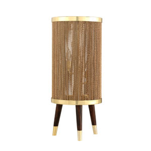 Rhodos Polished Brass 13-Inch Three-Light Table Lamp