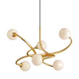 Signature Gold Leaf Six-Light LED Chandelier