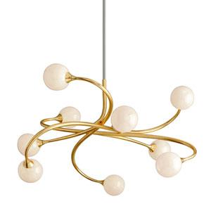 Signature Gold Leaf Nine-Light LED Chandelier