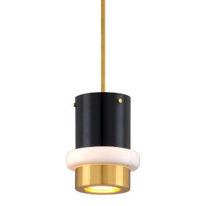 Beckenham Vintage Polished Brass and Black One-Light Mini Pendant