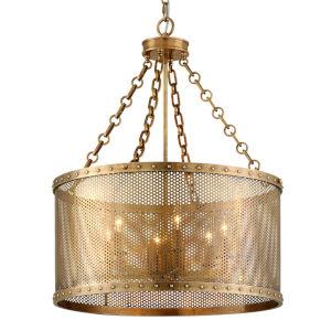 Rotunda Old World Brass 25-Inch Six-Light Chandelier