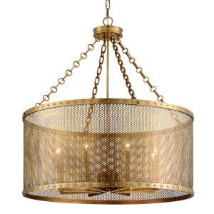 Rotunda Old World Brass 35-Inch Eight-Light Chandelier