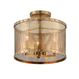 Rotunda Old World Brass 15-Inch Three-Light Semi-Flush Mount