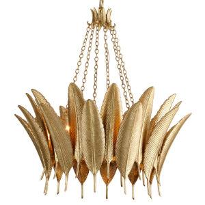 Featherette Mystic Gold 34-Inch Six-Light Chandelier
