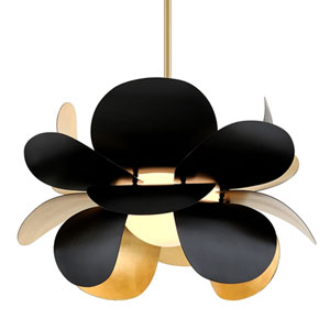 Ginger Black And Gold Leaf One-Light Pendant