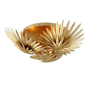 Savvy Vintage Gold Leaf Three-Light Semi-Flush Mount