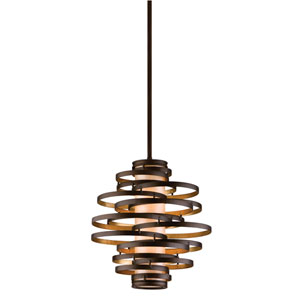 Vertigo Bronze with Gold Leaf Two-Light Fluorescent Pendant