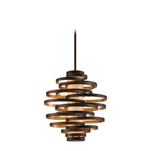 Vertigo Bronze with Gold Leaf Three-Light Fluorescent Pendant