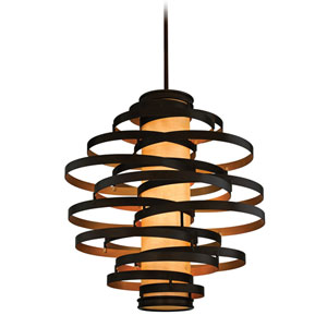 Vertigo Six-Light Bronze with Gold Leaf Six-Light Fluorescent Pendant