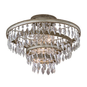 Diva Silver Leaf with Gold Three-Light Semi Flush