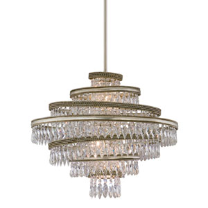 Diva Silver Leaf with Gold Five-Light 24-Inch Pendant