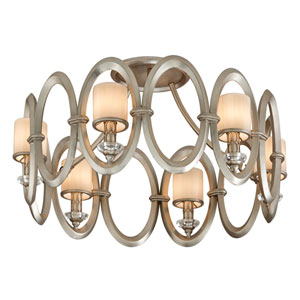Embrace Satin Silver Leaf Six-Light Semi Flush