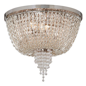 Vixen Polished Nickel Two-Light Jewel Flush Mount