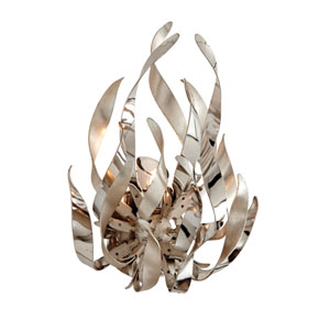 Graffiti Silver Leaf and Polished Stainless One-Light Wall Sconce