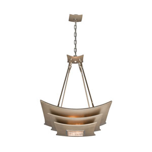 Muse Tranquility Silver Leaf with Polished Stainless Accents Four-Light Pendant