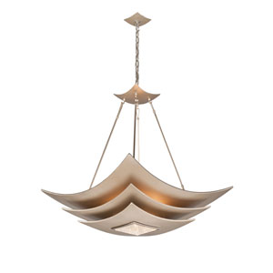 Muse Tranquility Silver Leaf with Polished Stainless Accents Six-Light Pendant