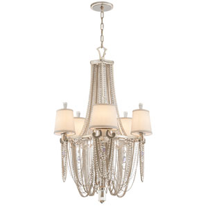 Flirt Modern Silver Leaf with Polished Stainless Accents Five-Light Chandelier
