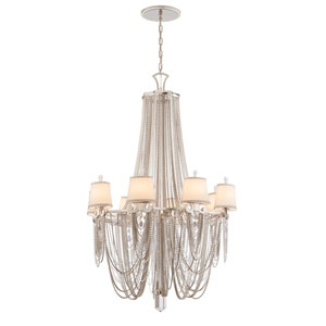 Flirt Modern Silver Leaf with Polished Stainless Accents Eight-Light Chandelier