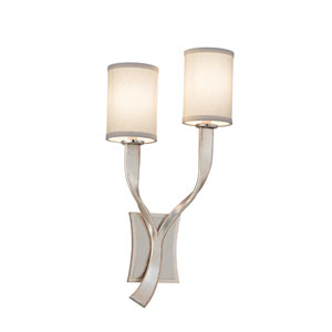 Roxy Modern Silver Leaf with Polished Stainless Accents Left Two-Light Wall Sconce