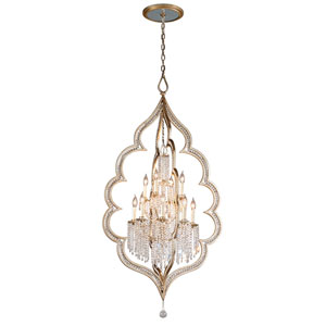 Bijoux Silver Leaf with Antique Mist 12-Light Chandelier