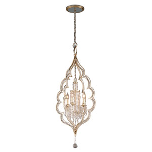 Bijoux Silver Leaf with Antique Mist Four-Light Pendant