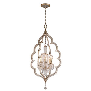 Bijoux Silver Leaf with Antique Mist Eight-Light Chandelier