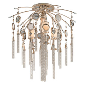Bliss Topaz Leaf Four-Light Semi Flush with White Pearl Glass