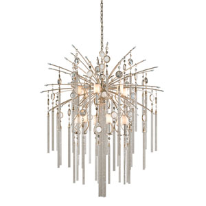 Bliss Topaz Leaf 13-Light Chandelier with White Pearl Glass