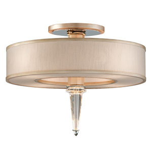 Harlow Tranquility Silver Leaf with Polished Stainless Accents Four-Light LED Semi Flush