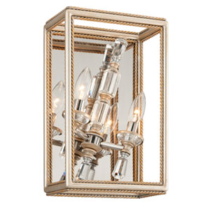 Houdini Silver Leaf With Gold Two-Light 60-Inch Wall Sconce
