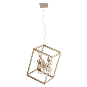 Houdini Silver Leaf With Gold Four-Light Halogen Pendant