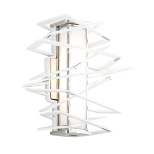 Tantrum White with Polished Stainless Eight-Light LED Wall Sconce
