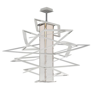 Tantrum White with Polished Stainless Accents LED 43-Inch Height Pendant