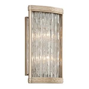 Pipe Dream Polished Stainless with Silver Leaf Two-Light Wall Sconce