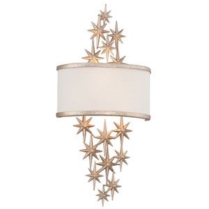 Superstar Textured Antique Silver Leaf Two-Light Wall Sconce