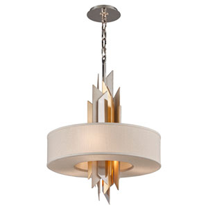 Modernist Stainless Steel with Silver And Gold Leaf 20-Inch Four-Light  Pendant