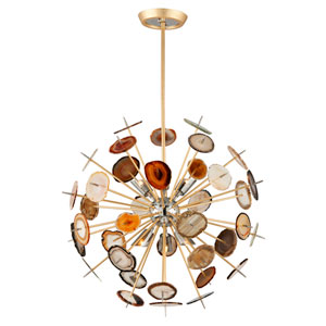 Meteor Textured Gold Leaf 27-Inch Six-Light  Pendant