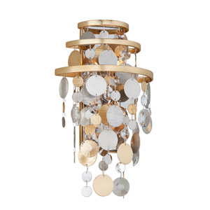 Ambrosia Gold and Silver Leaf Two-Light Wall Sconce