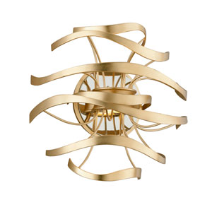 Calligraphy Gold Leaf with Polished Stainless Accents LED Two-Light Wall Sconce
