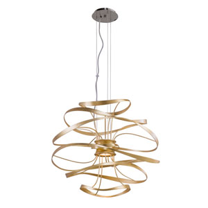 Calligraphy Gold Leaf with Polished Stainless Accents 26-Inch LED Two-Light Pendant