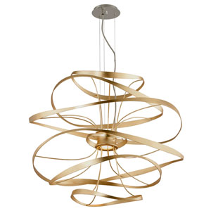Calligraphy Gold Leaf with Polished Stainless Accents 34-Inch LED Two-Light Pendant