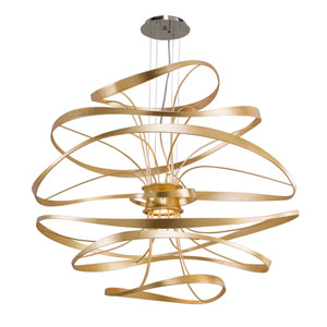 Calligraphy Gold Leaf with Polished Stainless Accents 42-Inch LED Two-Light Pendant