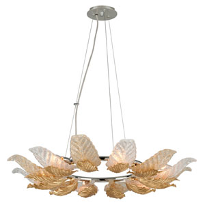 Anello Gold Leaf with Polished Stainless Accents 36-Inch Six-Light Pendant