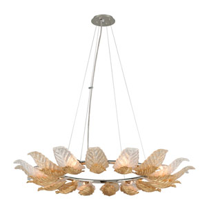 Anello Gold Leaf with Polished Stainless Accents 43-Inch Eight-Light Pendant