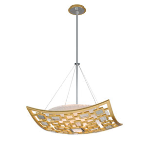 Motif Gold Leaf with Polished Stainless Accents 26-Inch Three-Light Pendant