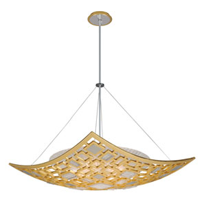 Motif Gold Leaf with Polished Stainless Accents 34-Inch Four-Light Pendant