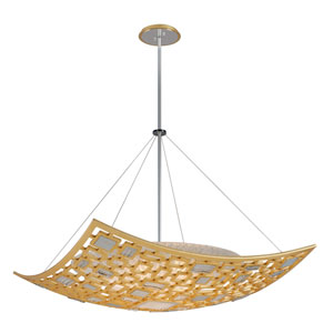 Motif Gold Leaf with Polished Stainless Accents 42-Inch Five-Light Pendant
