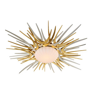 Helios Silver and Gold Leaf 49-Inch LED Flush Mount