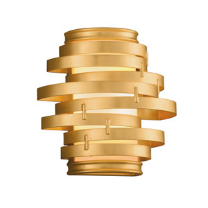 Vertigo Gold Leaf with Polished Stainless Accents 10-Inch LED Wall Sconce