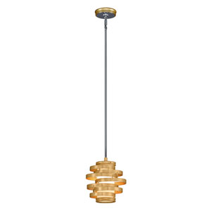 Vertigo Gold Leaf with Polished Stainless Accents 9-Inch LED Mini Pendant